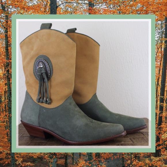 d278aec0217 Vintage 90s Dingo Suede Cowboy Boots Tassel 2 Tone